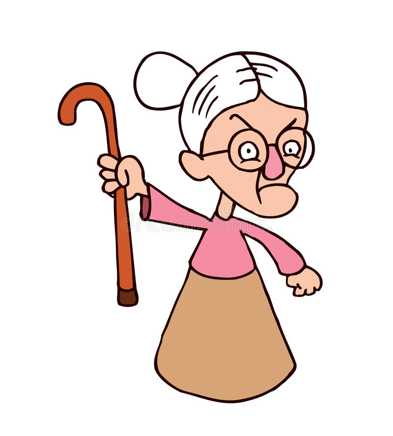 angry-grandmother-character-hand-drawn-illustration-44342567